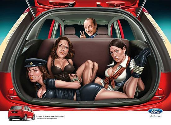 Ad involving former Italian prime minister Silvio Berlusconi.