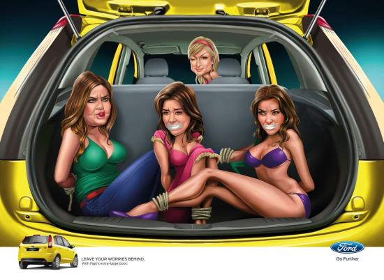Ad involving socialite Paris Hilton and the Kardashian sisters.