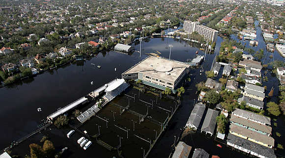 Part of the Tulane University campus is covered in floodwaters from Hurricane Katrina in New Orleans, United States.
