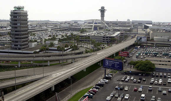 Runways and roadways are devoid of activity as some 178 commercial aircraft sit idle at Los Angeles International Airport after the September 11, 2001, attacks in New York and Washington.