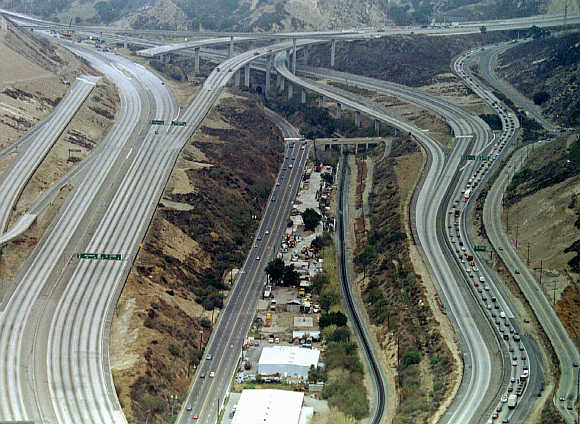 A view of the intersection of the Interstate 5 and 14 freeways, after the Northridge earthquake caused major damage to an overpass (upper left) in the United States.