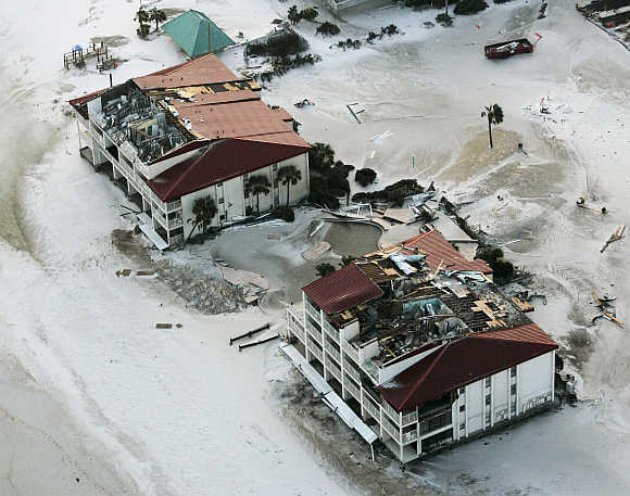 A view of buildings damaged by Hurricane Ivan in Pensacola Beach, Florida, United States.