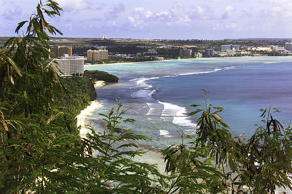 Cityscape view of Tumon Bay from Two Lovers Point in Guam.