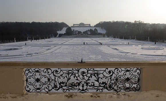 A view of Schoenbrunn Palace park in Vienna, Austria.