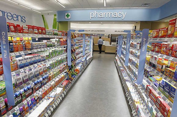 A view of Walgreens pharmacy on the famous corner of Sunset & Vine in Hollywood, California.