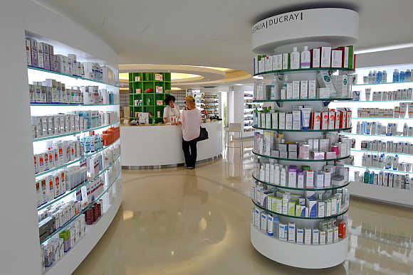 A pharmacy in Athens, Greece.