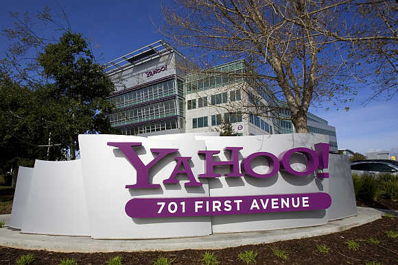 A Yahoo! sign in front of headquarters