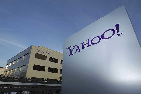 A Yahoo! logo in front of a building in Rolle, 30km east of Geneva, Switzerland.