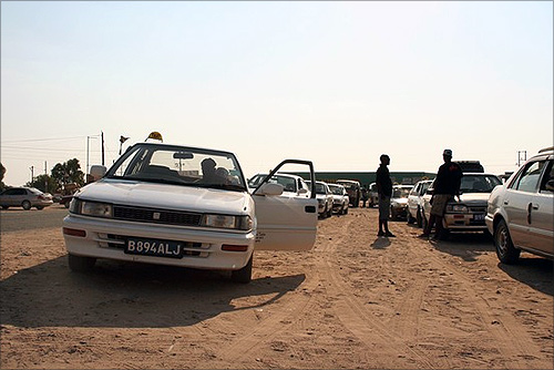 Taxi drivers waited for customers in the diamond mining town of Letlhakane, Botswana.