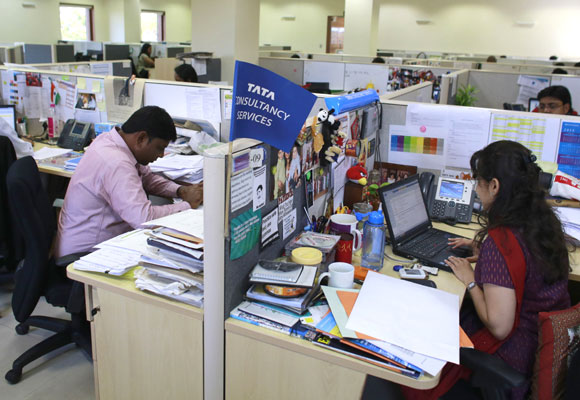 Tata Consultancy Services employees at work.