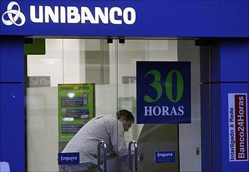 A customer is seen inside the Unibanco bank branch in Rio de Janeiro.