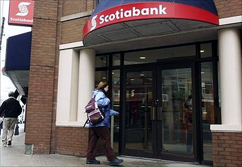 A customer walks into the Scotiabank on Spring Garden road in Halifax, Nova Scotia.