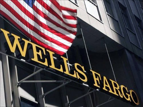 A US flag flies above Wells Fargo headquarters in San Francisco.