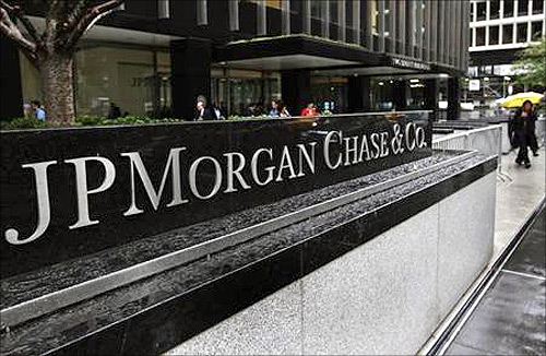 The entrance to JPMorgan Chase's international headquarters on Park Avenue is seen in New York.