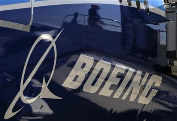 The Boeing logo is seen on a Boeing 787 Dreamliner airplane in Long Beach, California.