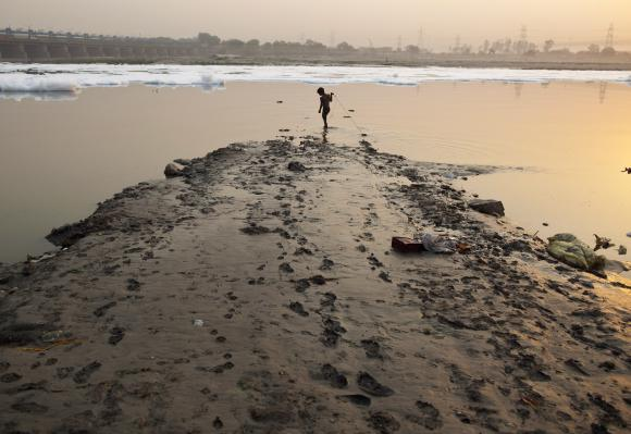 A boy searches for coins thrown by Hindu devotees in the waters of the river Yamuna.