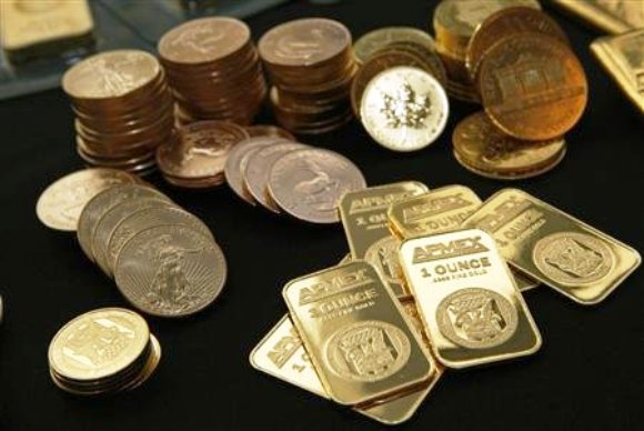 Gold Bullion and coins from the American Precious Metals Exchange (APMEX) is seen in this picture taken in New York.
