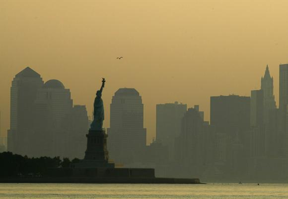 Clouds cover lower Manhattan and the site of the former World Trade Center in New York.