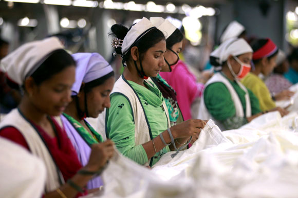 Women work at Goldtex Limited garment factory inside the Dhaka Export Processing Zone.
