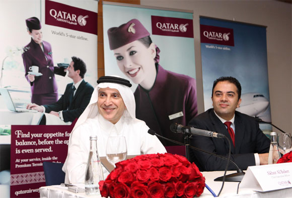 Qatar Airways chief executive officer Akbar Al Baker along with country manager UAE Fadi Hijazin.