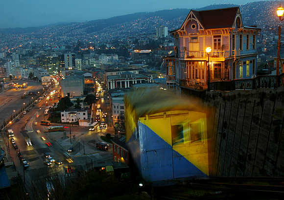 A nocturnal view of the 'Artilleria' funicular railway in the port city of Valparaiso, 137km northwest of Santiago, Chile.
