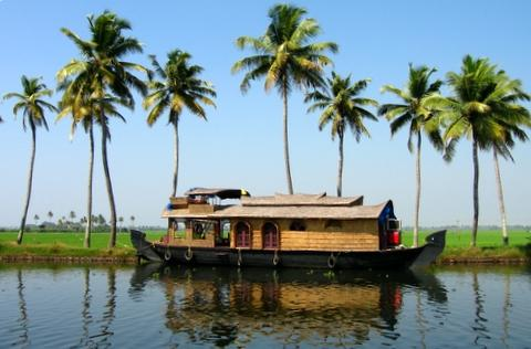 A typical houseboat in the Kerala backwaters near Alleppey,