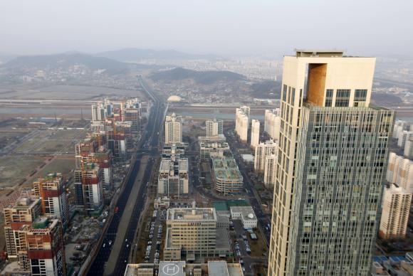 The Songdo International Business District in Incheon is seen in this aerial photo.