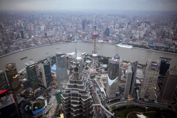 A view of the city skyline from the Shanghai Financial Center building.