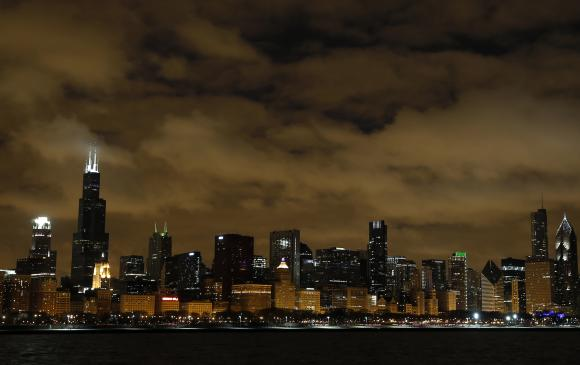 The Chicago skyline is seen before Earth Hour.
