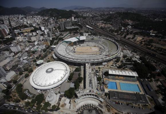 An aerial view shows the roof installation at the Maracana Stadium, which is undergoing renovation for the 2014 World Cup, in Rio de Janeiro.