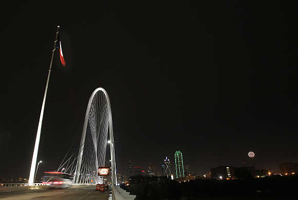 A view of 446-foot-high Margaret Hunt Hill Bridge in Dallas, Texas, United States.