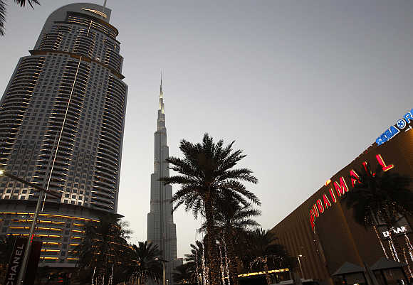 A view of Burj Khalifa, the world's tallest tower, and Dubai Mall in the United Arab Emirates.