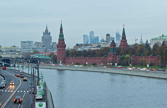 A view of Moscow's Kremlin, Ministry of Foreign Affairs and Moscow City business district in Russia.