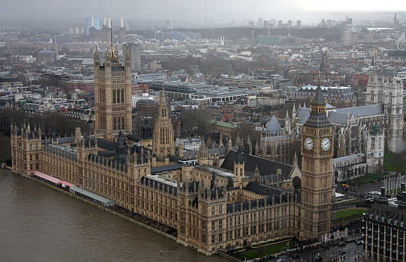 A view from the London Eye shows the Houses of Parliament in central London, United Kingdom.