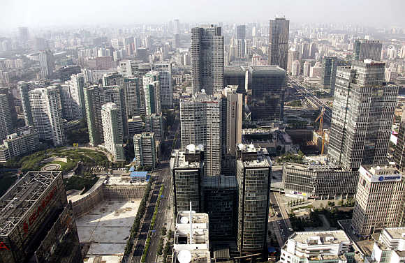 A view of Beijing's Central Business District in China.