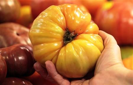An organically grown Heirloom tomato is seen in the produce section at the Whole Foods grocery story in Ann Arbor, Michigan.