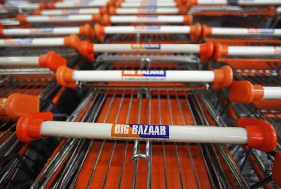 Shopping carts are parked at the Big Bazaar retail store in Mumbai.
