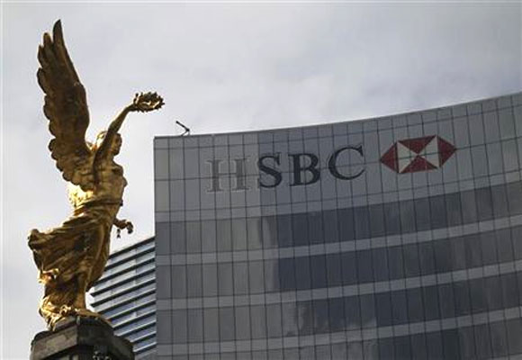 The Angel of Independence is seen near a HSBC building in Mexico City.