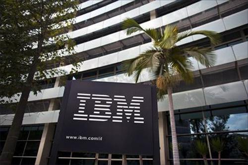 The IBM logo is seen outside the company's offices in Petah Tikva, near Tel Aviv.
