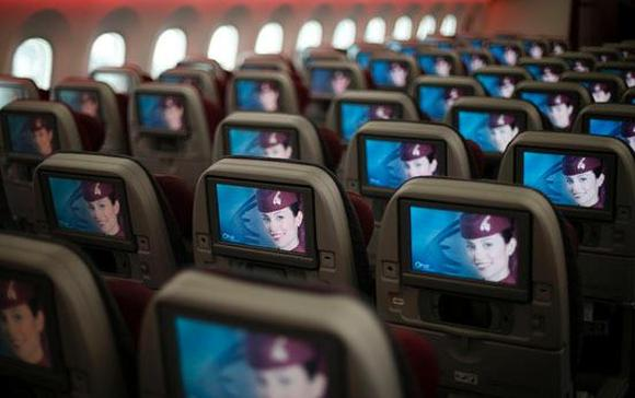 Seats and screens in the economy class cabin of Qatar Airways' new Boeing 787 Dreamliner.