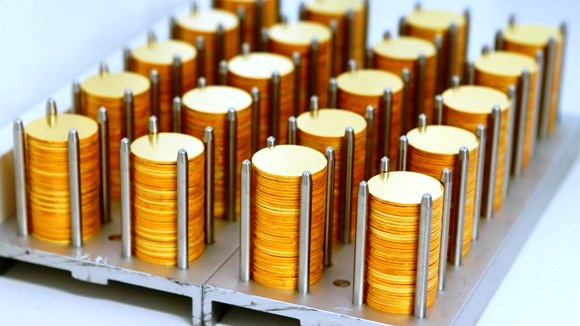 Austrian gold Vienna Philharmonic bullion planchets are seen in the Austrian Mint.