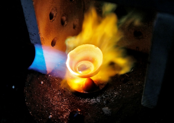 A man melts gold at a refinery in Ahmedabad.