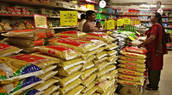 Customers shop at a superstore inside a mall in Allahabad.