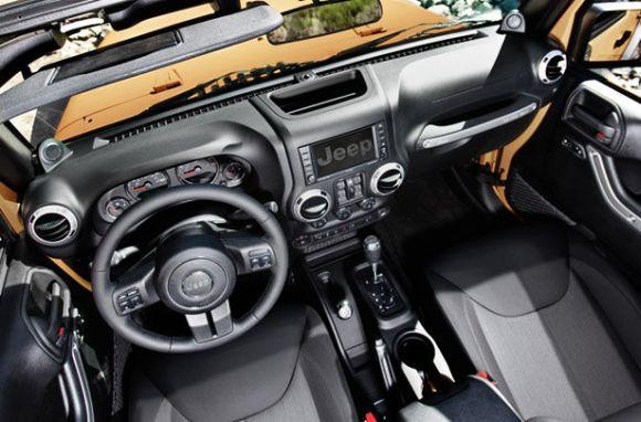 Jeep Wrangler interior.