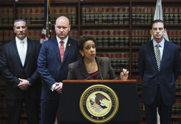 Loretta Lynch, United States Attorney for the Eastern District of New York, speaks at a news conference in New York.