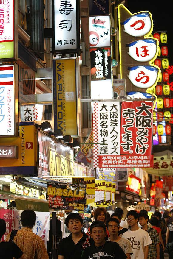 Dotonbori shopping and amusement district in Osaka, western Japan.
