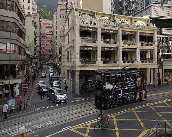 A view of Wanchai district in Hong Kong.