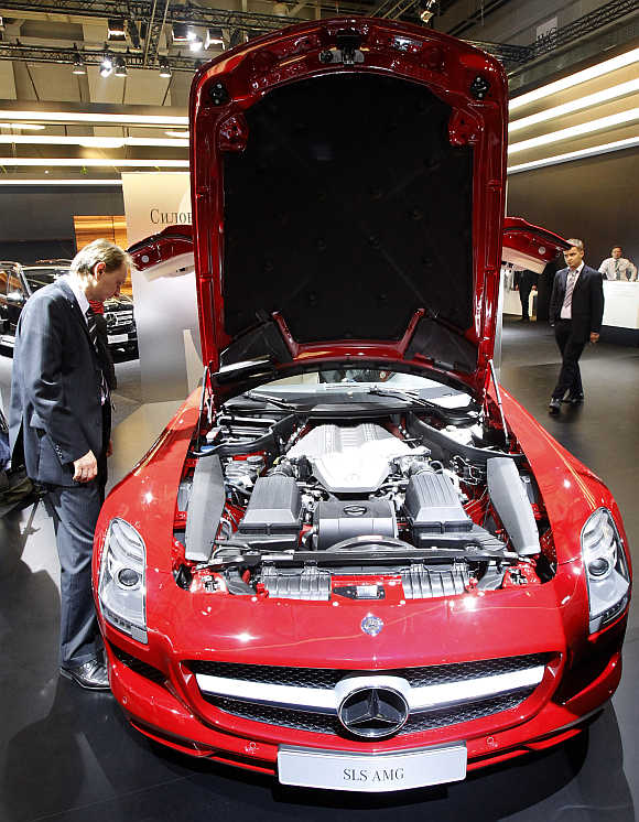 A Mercedes-Benz SLS AMG is on display at the Moscow Auto Salon.