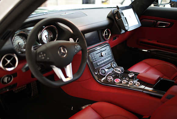 The inside of a Mercedes car used by Dubai police.