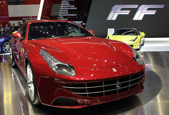 Ferrari's FF is displayed at the Geneva Car Show in Switzerland.